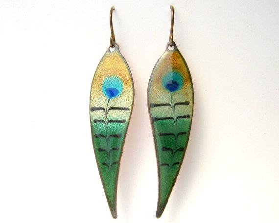 Peacock Feather Earrings- copper enamel earrings with niobium earring hooks, handmade enamel jewelry
