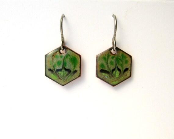 Handmade Green Earrings - Copper enamel scrolled hexagons on titanium earring hooks