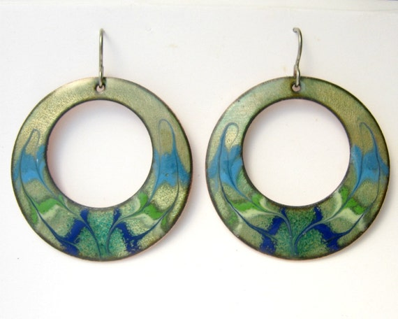 Turquoise, green, blue hoop earrings - copper enamel with titainium earring hooks - large