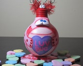 LUV BUG Valentines Frog Collectible Upcycled Light Bulb Adorable PINK