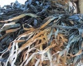 4 Yards STORMY SHORE with Black and Iridescent Edging Hand Dyed Ribbon