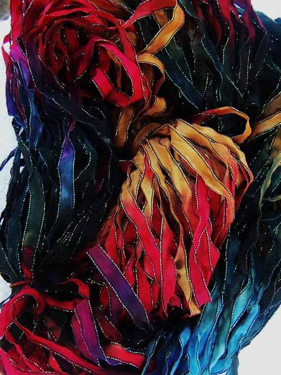 4 Yards BRILLIANT SUNSET Black and Iridescent Edged Hand Dyed Ribbon