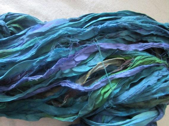 8 Yards Hand Dyed PEACOCK TEAL Sari Silk Ribbon