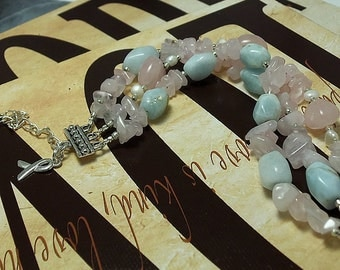 SIDS, Infertility Awareness, Aquamarine & Rose Quartz Bracelet