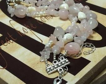 Rose Quartz Breast Cancer Awareness Gemstone Bracelet