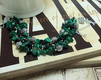 Mitochondrial Disease, Bipolar Disorder, Cerebral Palsy Awareness, Malachite & Onyx Bracelet