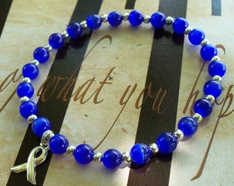 Anorexia, Bulimia, Gastric Cancer Awareness Cat's Eye Bracelet