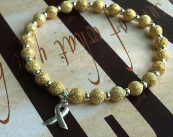 Childhood Cancer Awareness Bracelet  22 kt Gold Plated Stardust