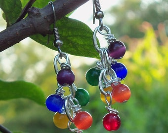LGBT Pride Rainbow Cluster Earrings