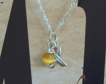 Spina Bifida, Endometriosis, Sarcoma, Military Deployment Awareness Necklace - Sterling Silver