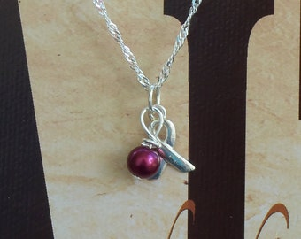 Sickle Cell Anemia, Multiple Myeloma Awareness Necklace - Sterling Silver