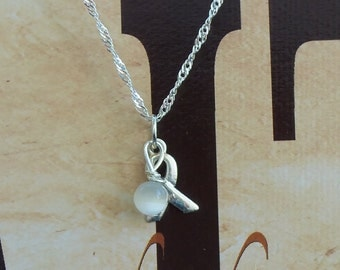 Spinal Muscular Atrophy, Bone Cancer, Cataract, Lung Cancer, Mesothelioma Awareness Necklace - Sterling Silver