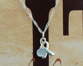 Light Gray - Allergy, Diabetes, Brain Cancer Awareness Necklace - Sterling Silver