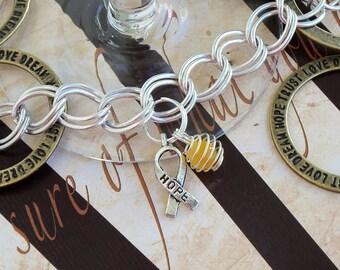 Spina Bifida, Endometriosis, Sarcoma, Military Deployment Awareness Charm Bracelet