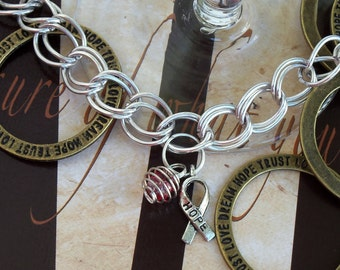 DVT, Carcinoma, Oral Cancer Awareness Charm Bracelet