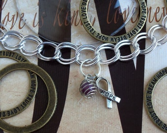 Lupus, ADHD, Chiari, Alzheimer's, Fibromyalgia, Dravet Syndrome, Pancreatic Cancer Awareness Charm Bracelet