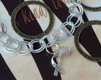 Rett Syndrome, Lavender Hodgkin's Disease, Cancer Awareness Charm Bracelet