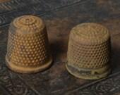 Set of 2 Vintage brass thimble, dark patina
