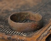 Antique brass primitive ring. Original dark patina. Size 12