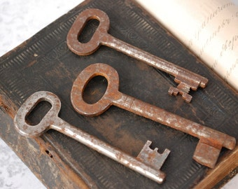 Set of  3. Vintage steel skeleton keys.