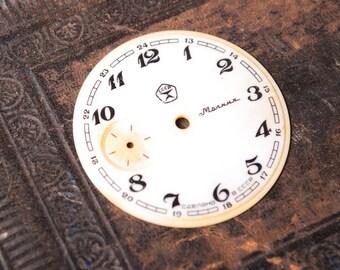 Vintage plastic pocket  watch face, watch parts, big.
