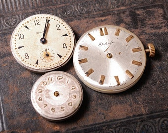 SALE 25% off.....Set of 3 Vintage watch movement, watch parts, watch faces.