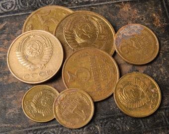 Lot of 8 Soviet Russian metal kopeks coins, kopecks, copecks, kopeyka