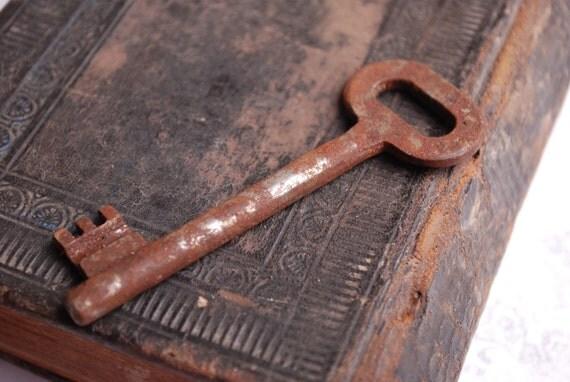 SALE... Antique metal skeleton key. old