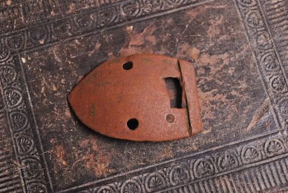 Antique primitive brass plate, belt buckle, finding