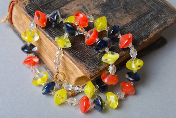 Vintage czech glass bead  necklace.  multicolored necklace