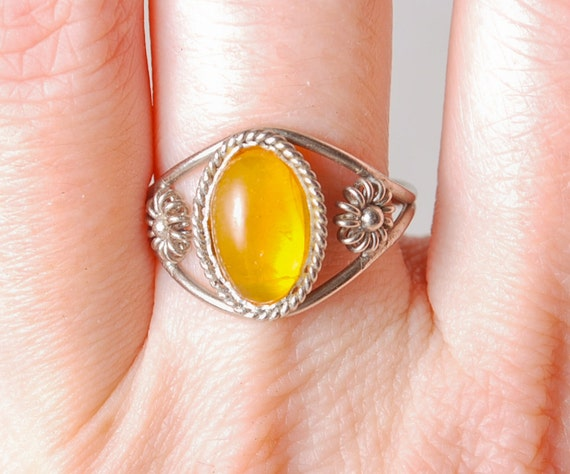 Vintage Baltic amber ring, filigree decor, Size 7