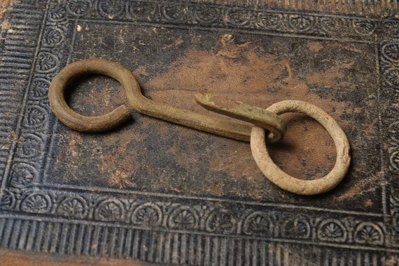Antique metal  hook and ring, primitive finding