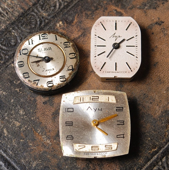Set of 3 Vintage miniature watch movement, watch parts, watch faces. (MS)