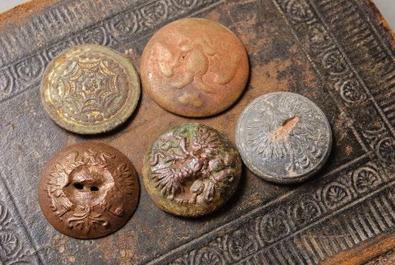 Set of 5 Antique metal buttons