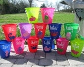 Quantity 5 Personalized sand pail, beach bucket with shovel-mix and match sizes, colors, designs-great party favors