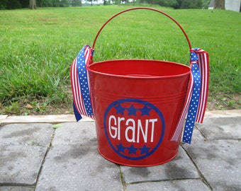 Patriotic Personalized 5 quart metal bucket, perfect for the 4th of July parade, picnic or BBQ or use for a gift basket