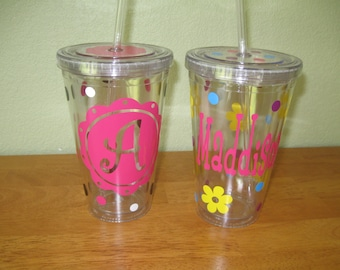 Personalized w/name acrylic tumbler, polka dots, flowers, Available in skinny, standard, sport bottle, mason, kiddie cup & XL cup