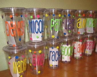 Quantity 7 Personalized w/name acrylic tumbler w/lid - polka dots, Available in skinny, standard, sport bottle, mason, kiddie cup & XL cup
