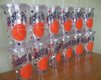 Basketball, any SPORT, Personalized w/name acrylic tumbler, polka dots, Available in skinny, standard, sport bottle, mason, kiddie & XL cup