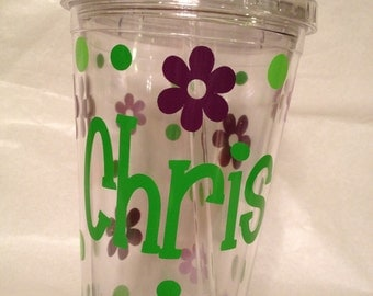Personalized w/name acrylic tumbler, flowers, polka dots, Available in skinny, standard, sport bottle, mason, kiddie cup & XL cup