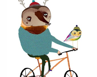 Biking Deer with Owl. limited edition art print by Ashley Percival. Wall Art.
