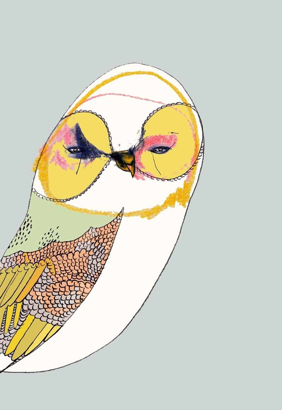 Owl art. The Curious Owl. Childrens art. Limited edition owl decor.
