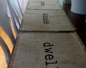 Burlap Place Mats Set of Four (dwell, live, home, abode)