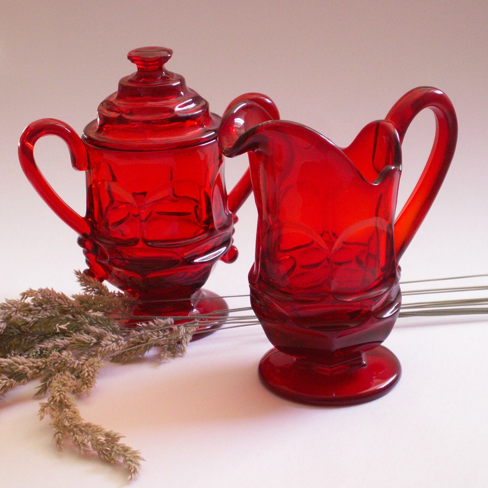 Vintage Authentic Fostoria Glassware Ruby Red Sugar and