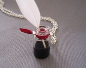 Inkwell Writer Necklace with Black Ink and Real Feather