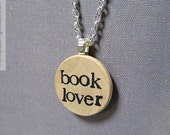 Book Lover Hand Stamped Literary Bibliophile Necklace in Black Typewriter Font - Reader Jewelry