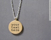 Custom Hand-Stamped Personalized Wooden Pendant Necklace With Your Choice of Word or Phrase