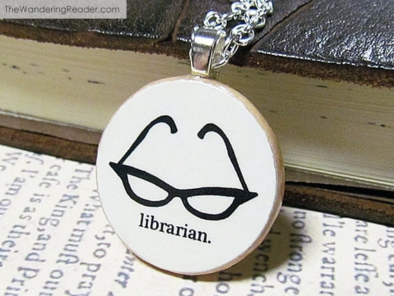 Librarian Necklace With Sexy Black Cat Eye Glasses - Free US Shipping