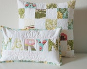 RETIREMENT SALE Custom Name Pillow with Coordinating Patchwork Pillow