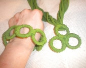 Go Green--Upcycled fabric bracelet and necklace set
